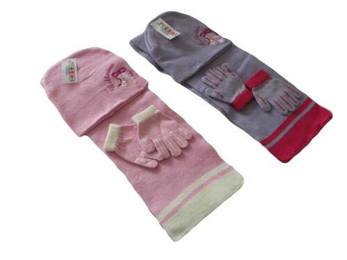 Girls Age 3-6 Years Ballerina Hat Scarf /& Glove Set Pink or Purple