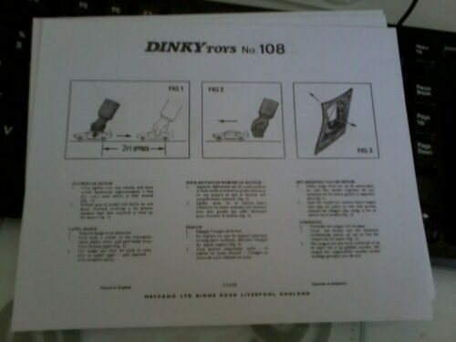 Dinky Toys 108 Sams Car from Joe 90   Replacement Instruction Sheet