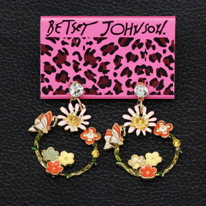 Colorful-Enamel-Sunflower-Butterfly-Dangle-Earbob-Betsey-Johnson-Earrings-Gift