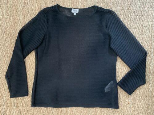 ARMANI Mesh Black Striped Shirt Size 16