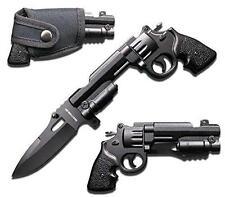 Rogue River Tactical Black Revolver Pistol Gun Folding Pocket Knife w /holster