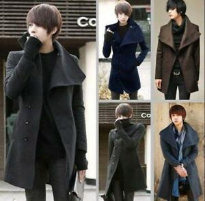 bdc69725ead New Men s Korean Slim Fit Long Jacket Outwear Woolen Trench Lapel ...