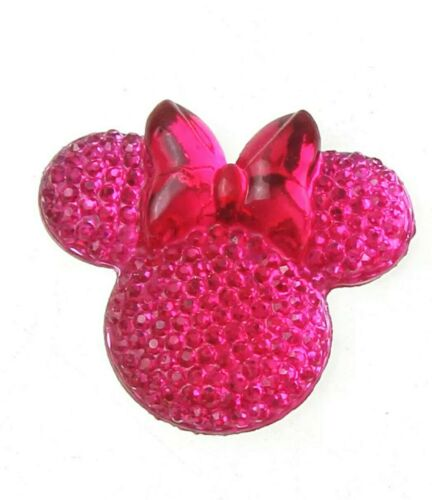 6PC Minnie Mouse 3D Flatback Embellishment Cupcake Topper Hair Bows Jewelry Pink
