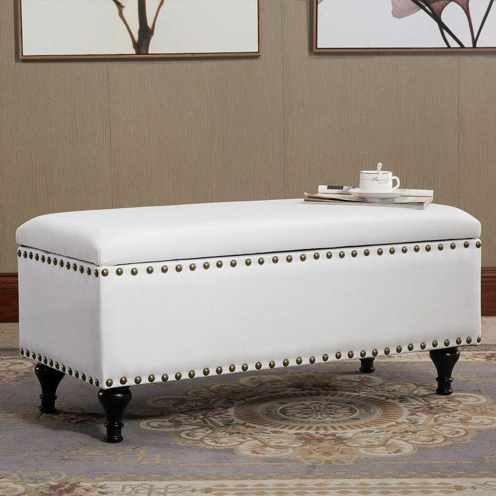 Storage Ottoman Bench Stool Foot Chair Modern Furniture Off White Nailhead New Ebay