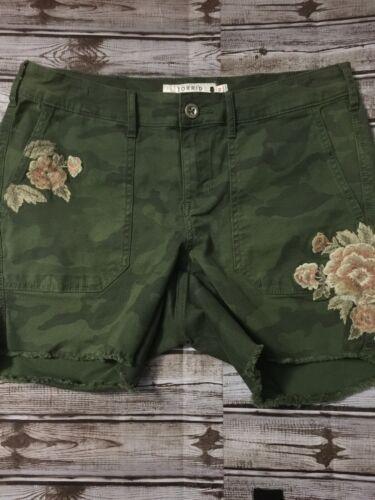 Camo Fiori Nwot 10 Taglia Elasticizzato verde bordo ricamati Frayer corti Pantaloncini BFq0wtU