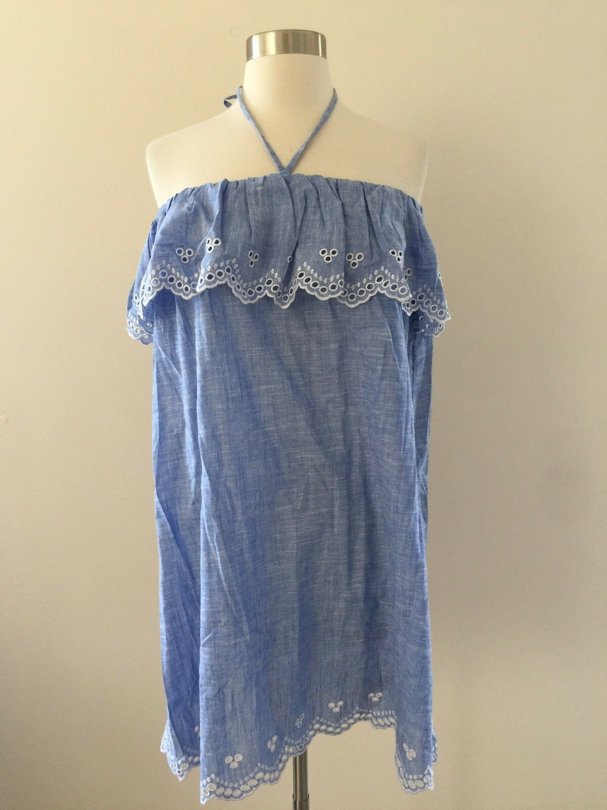 NWT  JCrew Eyelet Beach Dress Cover Up Sz M G7611 Blau