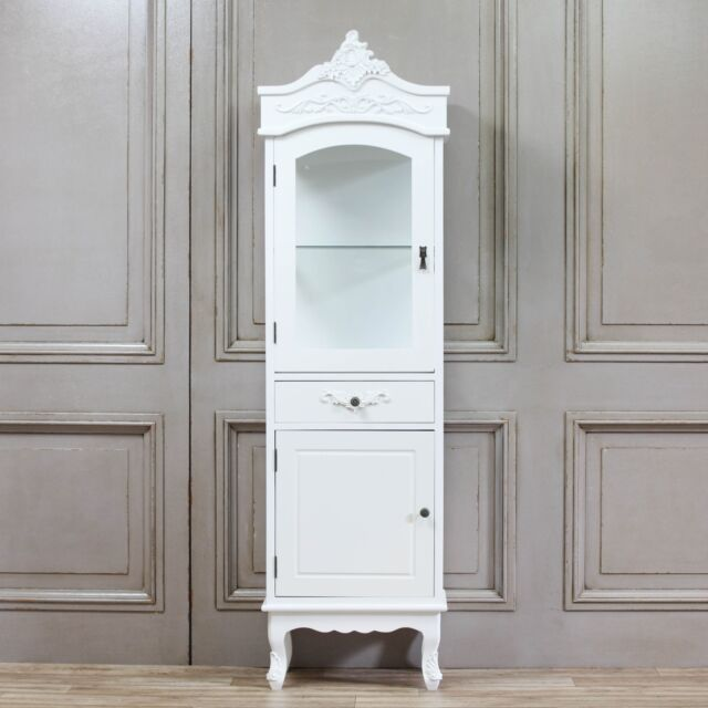 shabby chic french chateau style single display cabinet in white rh ebay co uk bedroom display cabinets white gloss Bathroom Storage Cabinets with Doors