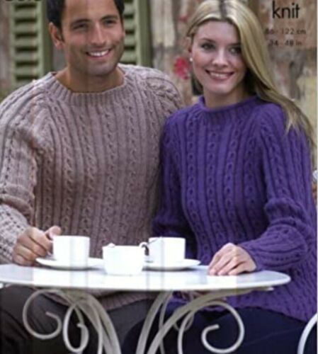 Knitting pattern for Mens /& Ladies matching jumpers W245