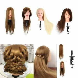 Salon-Training-Head-Real-Human-Hair-Hairdressing-Styling-Mannequin-Doll-Clamp