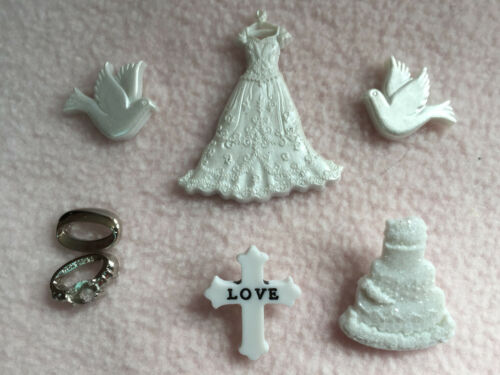 DRESS IT UP BUTTONS ~ WEDDING ~ DRESS ~ CAKE ~ RINGS ~ DOVES ~ CROSS