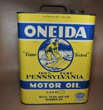 Vtg. Oneida Motor Oil Can - 2 Gal. - Native American Logo - West Penn Oil Co.