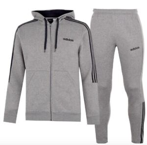Details zu Adidas 3 Stripe Herren Trainingsanzug Tracksuit Jogginganzug Grau Navy