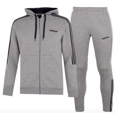 Adidas 3 Stripe Herren Trainingsanzug Tracksuit Jogginganzug Grau Navy   eBay
