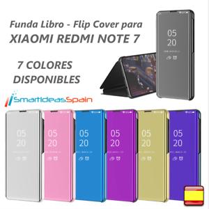 FUNDA-XIAOMI-REDMI-NOTE-7-CARCASA-FLIP-COVER-CLEAR-VIEW-LIBRO-TAPA-ESPEJO-TPU-PC