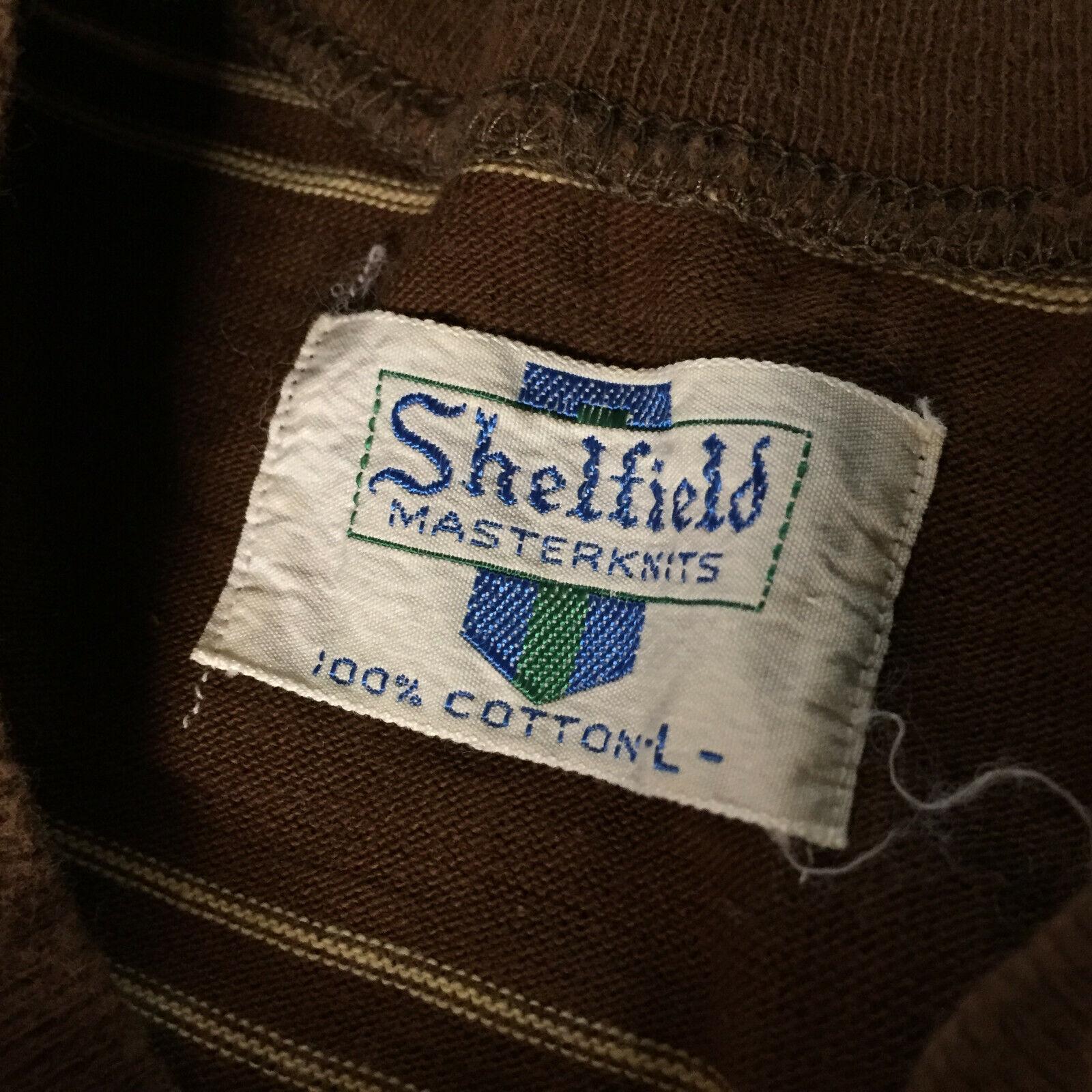 Vintage 50s 60s Shelfield Knit Surf Stripe Brown … - image 2