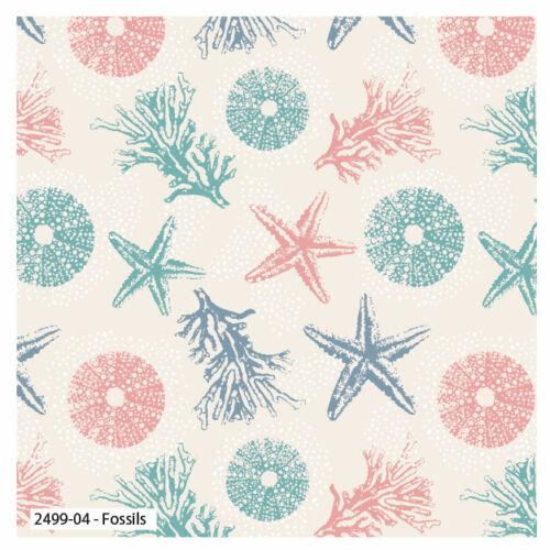 Beach fabric Shells Starfish Beige Cream Cotton Fabric Coral Nautical Fabric