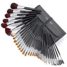 34pcs Makeup Brush Set Eyeshadow Foundation Powder Lip Brushes + Leather Case