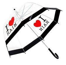I Love Rain Walking Dome Auto Umbrella Transparent
