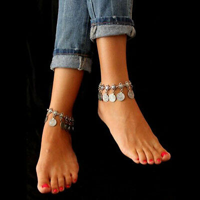 Tribal Ethnic Silver Coin Tassel Gypsy Turkish Anklets Bracelet Jewelry New d76