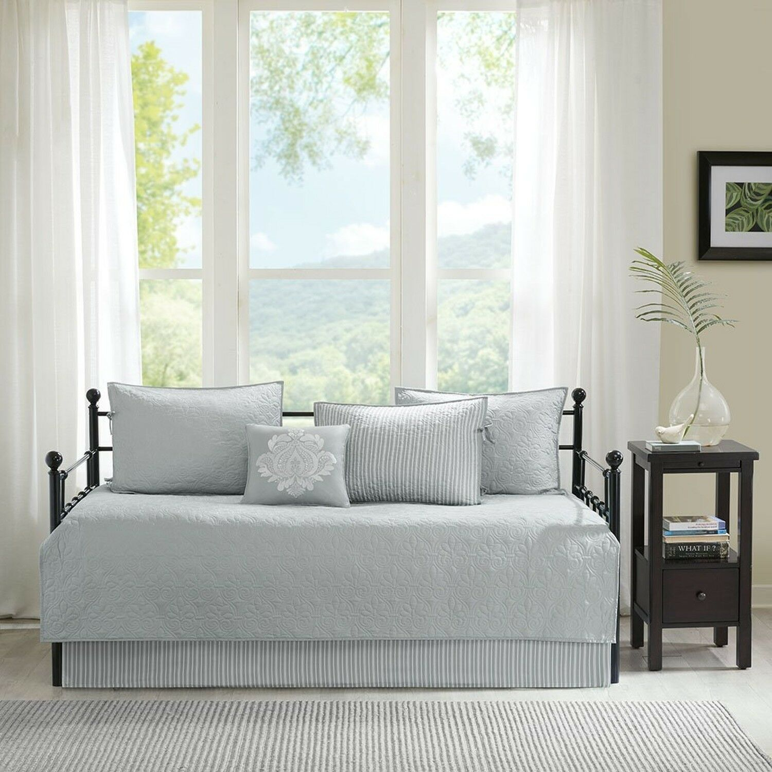 Madison Park Quebec Daybed Size Quilt Bedding Set - Grey, Damask – 6 Piece Be...