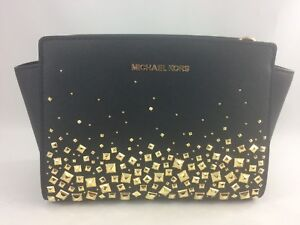 Details zu New Authentic Michael Kors Selma Stud Medium Messenger Crossbody Purse Black