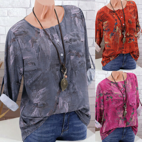 Womens Boho Retro T Shirt Tunic Tops Ladies Long Sleeve Baggy Blouse Plus Size
