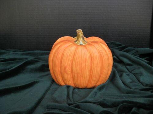 NEW Made in USA Cermic Pmpkin Napkin Holder Orange Satin Glaze