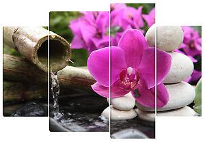 Quadro moderno orchidea su sassi 4pz 90x130 arredo casa bar ufficio