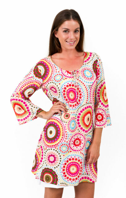 Cotton Kaftan Dress in White Circles by Spirituelle Sizes S - 3XL NEW