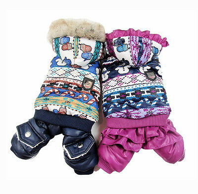 Dog Pet Winter Warm Coat Jacket Pet Puppy Jumpsuit Hoody Snowman Clothes