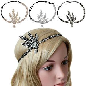 1920's Headpiece Great Gatsby Flapper Headband Bridal Crystal Pearl Hair Band UK