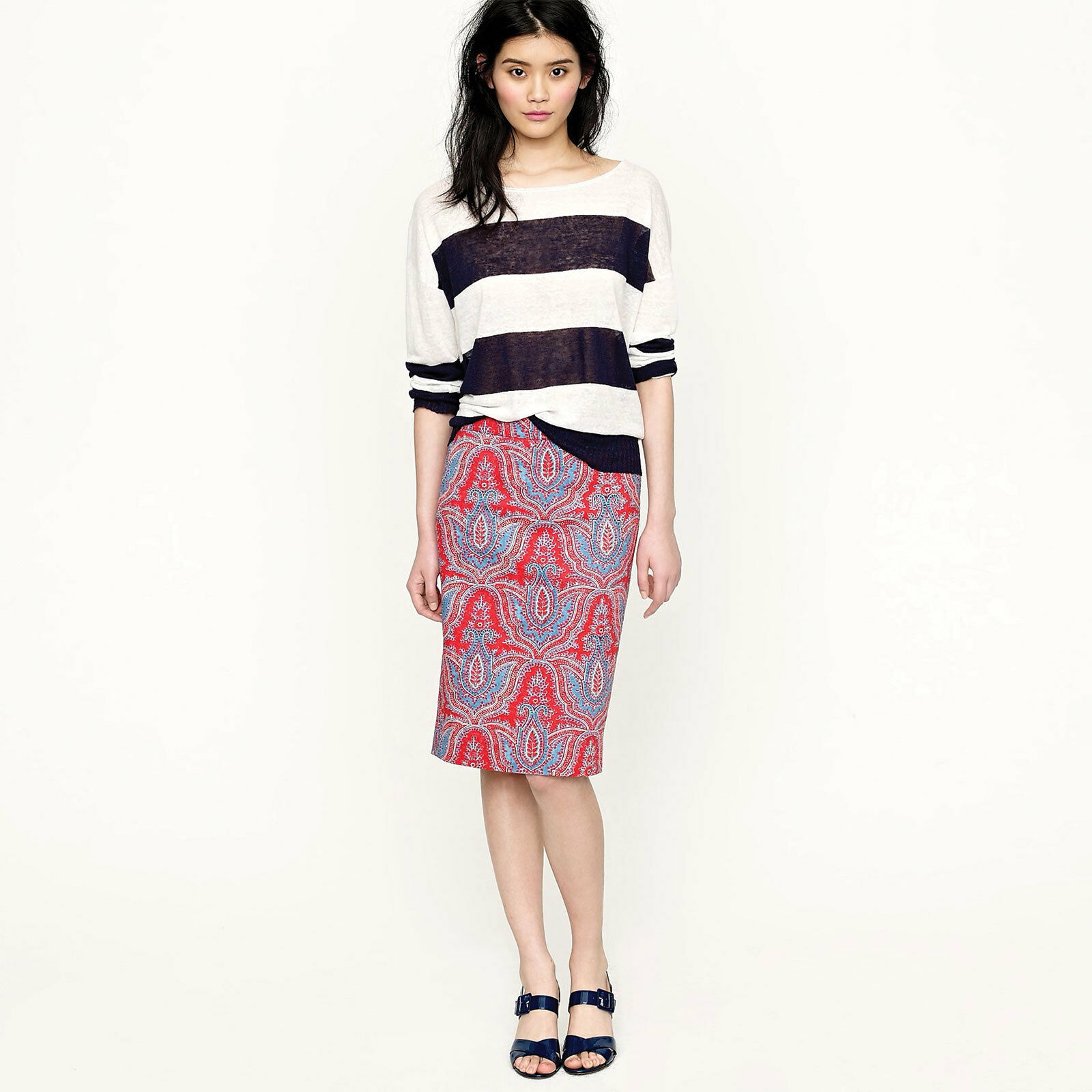 J Crew No 2 Pencil Skirt in Raj Paisley Cotton  138 Sz 00 Style 78860