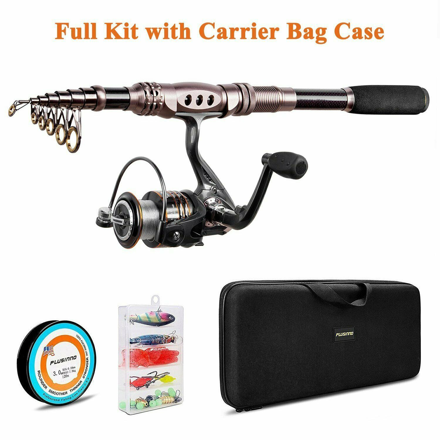 PLUSINNO Fishing Rod and Reel Combos Autobon Fiber Telescopic Spinning Reels Lure