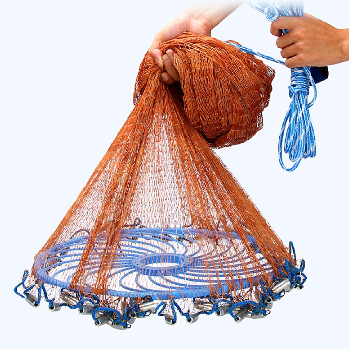 3-4.8m Netting Twine+Steel Hand Throw Cast Net  American Style Brown Bait Fishing  amazing colorways