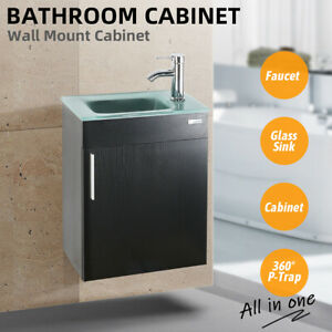 19 Black Bathroom Vanity Cabinet Set Vessel Sink Faucet W Wood Glass Top Combo Ebay