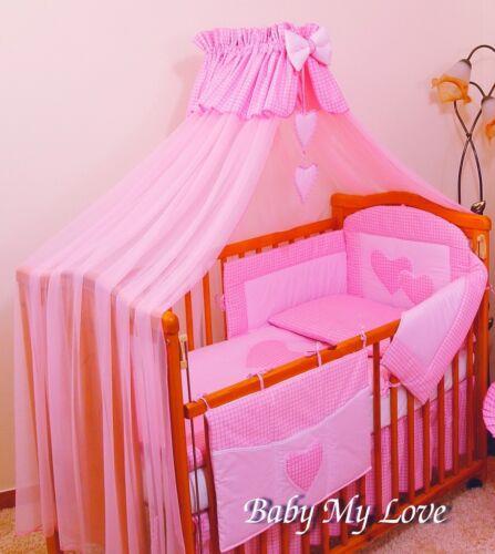 Lovely 7 pcs Nursery ensemble de literie//pare-chocs//Oreiller//couette//housse//Canopy 4 Cot//Cot Bed