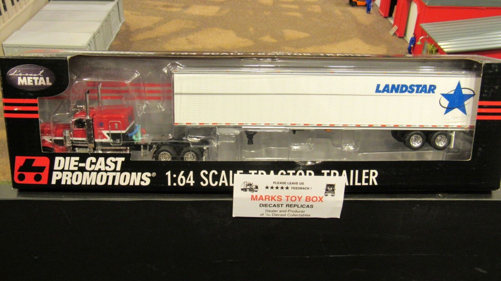 DCPLandStar camiones Pete 389 Semi Cab Truck Dry Van Trailer 1 64 cl
