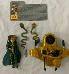GI-Joe-ARAH-Cobra-Serpentor-Action-Figure-amp-Air-Chariot-V1-1986-w-Filecard