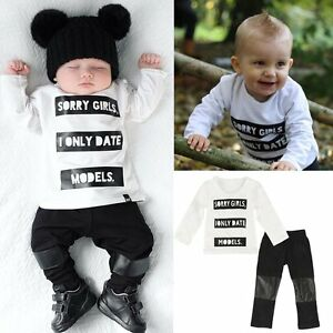 4e89c97a3 2pcs Newborn Infant Kids Baby Boys T-shirt Tops+Long Pants Outfits ...