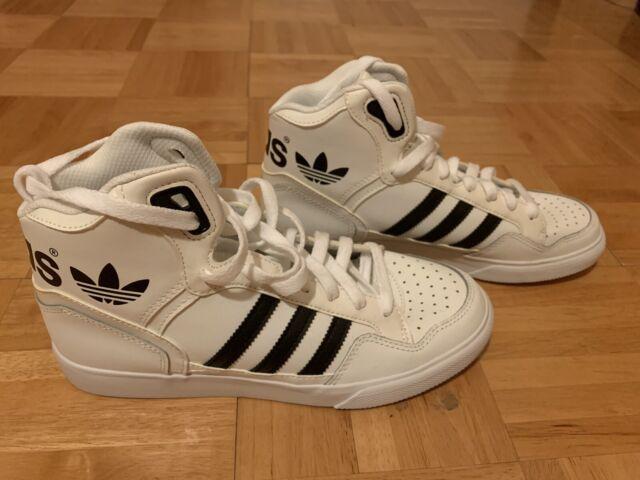 Adidas Men's Hi High Top SZ 7.5 Stripe White & Black Sneakers