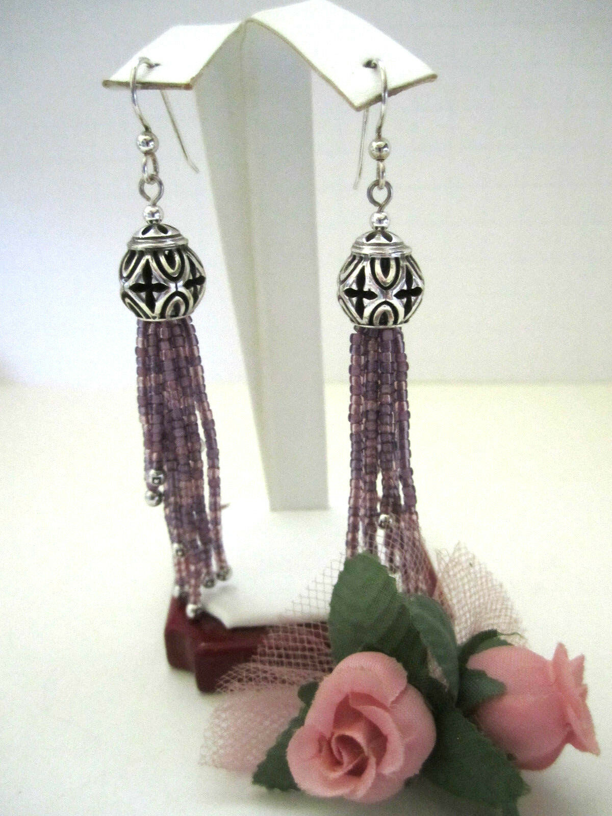 Brighton  BOHO ROOTS  Purple Tassel French Wire Earrings (MSR 58) NWT Tin