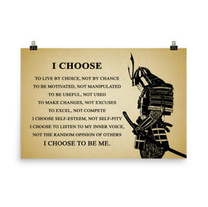 Samurai Quotes | Samurai Warrior Poster Motivational Inspiration Quotes Poster I