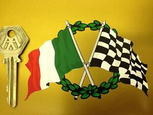Crossed-ITALIAN-Flag-amp-Chequered-with-GARLAND-sticker
