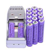 16x Aaa 3a 1800mah 1.2 V Ni-mh Rechargeable Battery Purple + Aa Aaa Usb Charger