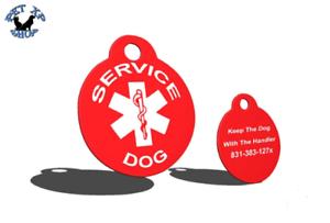 Juste Lot De 2 Service Dog Tags Personnalisé Gravé Identité Tag Pour Service Chiens-afficher Le Titre D'origine
