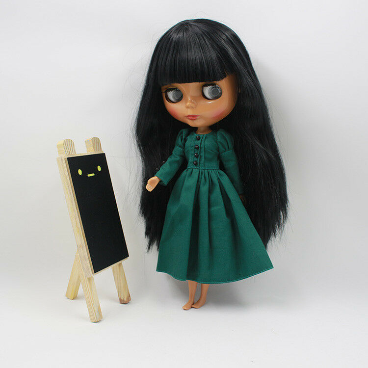 12  Neo Blythe Doll Negro Piel Negro stright Cabello de fábrica Desnuda Muñeca