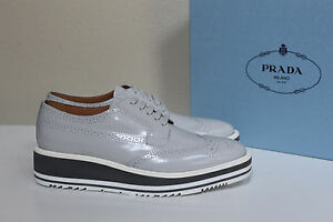 7762a1b927e New sz 11   41 PRADA Gray Leather Wing Tip Lace up Oxford Platform ...