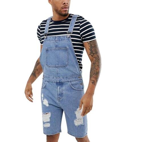 Mens Summer Bib Overall Shorts Denim Shorts Walkshort Jumpsuit Button Rompers