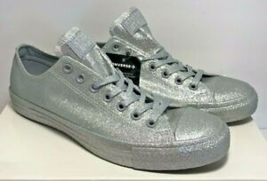 Details about Converse Unisex Mens 9 Womens 11 CTAS Ox Silver Glitter Low Sneakers 162994C