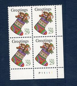 2872-Christmas-Stocking-Plate-Block-Mint-nh-FREE-SHIPPING